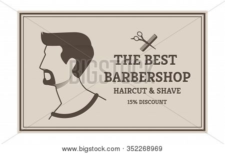 Information Banner The Best Barbershop Cartoon. Advertising Flyer Haircut Shave 15 Percent Discont.