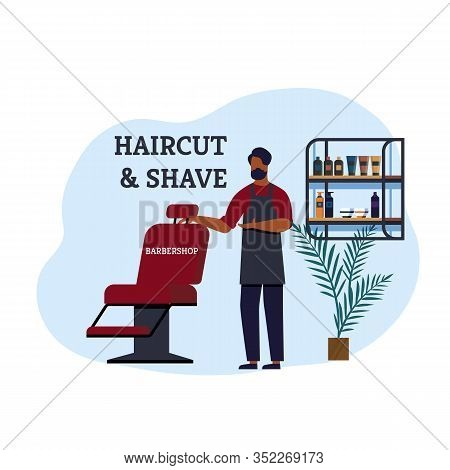 Barbershop Haircut And Shave Invitation Banner. Good Specialist Invites Everyone Use Services Hairdr