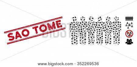 Rubber Red Stamp Seal With Sao Tome Caption Between Double Parallel Lines, And Mosaic People Demogra