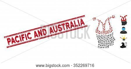 Grunge Red Stamp Seal With Pacific And Australia Text Inside Double Parallel Lines, And Mosaic Joker
