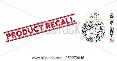 Rubber Red Stamp Watermark With Product Recall Caption Inside Double Parallel Lines, And Mosaic Grai