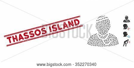 Grunge Red Stamp Seal With Thassos Island Text Between Double Parallel Lines, And Mosaic Sick Physic