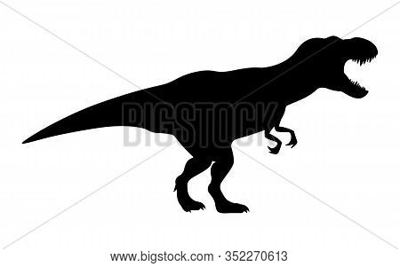 T-rex Tyrannosaurus Silhouette. Vector Illustration Growling Screaming Tyrannosaurus Rex Dinosaur Si