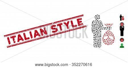Rubber Red Stamp Watermark With Italian Style Text Inside Double Parallel Lines, And Mosaic Alien Sc
