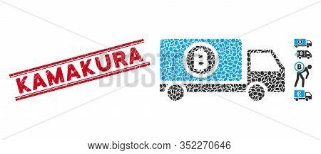 Rubber Red Stamp Watermark With Kamakura Caption Inside Double Parallel Lines, And Mosaic Bitcoin De