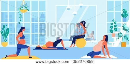 Maternity Group Fitness Class With Aerobic Muscles, Fitball And Balance Exercises For Pregnant Women