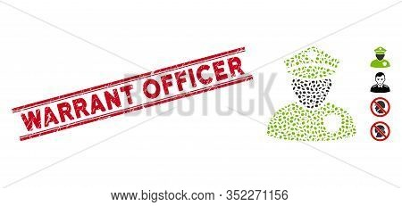 Grunge Red Stamp Seal With Warrant Officer Phrase Between Double Parallel Lines, And Mosaic Police O