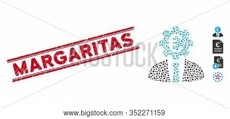 Corroded Red Stamp Seal With Margaritas Phrase Inside Double Parallel Lines, And Mosaic Euro Banker