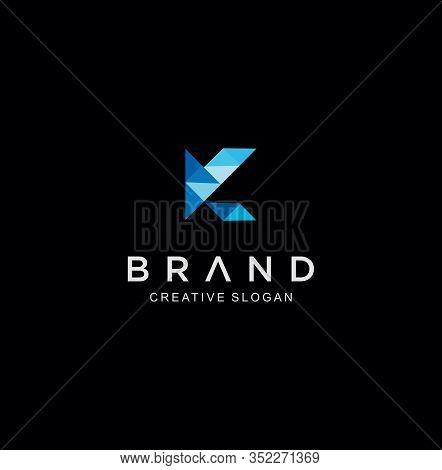 Letter K Tech Logo . Letter K Logo Polygonal Style Stock Vector . Letter K Logo Icon Mosaic Pattern