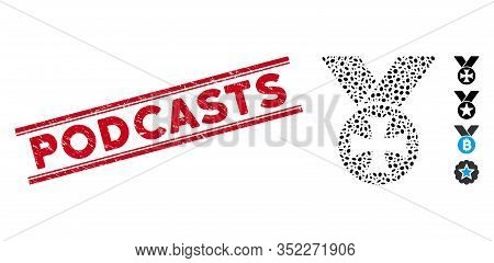 Rubber Red Stamp Watermark With Podcasts Phrase Inside Double Parallel Lines, And Mosaic Maltese Med
