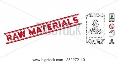 Rubber Red Stamp Watermark With Raw Materials Caption Inside Double Parallel Lines, And Mosaic Mobil