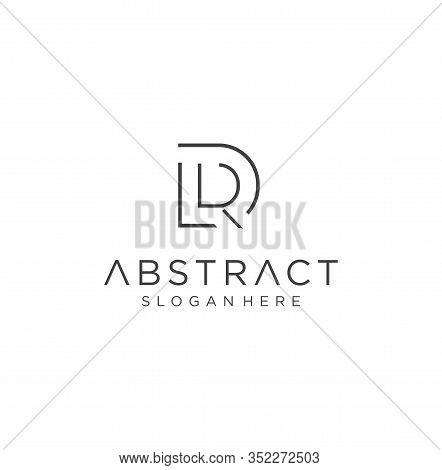 Monogram Letter D R Logo With Thin Black Monogram Outline Contour. Modern Trendy Letter R D Logo Des