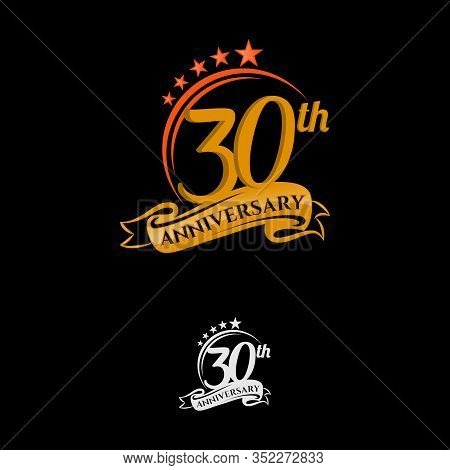 30 Years Anniversary Celebration Design With Thin Number Shape Golden Color For Special Celebration