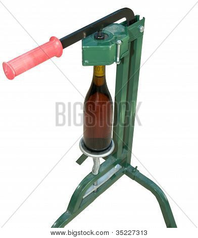 Bottle Capper And Wine Bottle (front View)