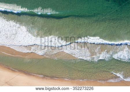 Aerial View Of The Crashing Waves On Nobbys Beach - Newcastle - Nsw Australia