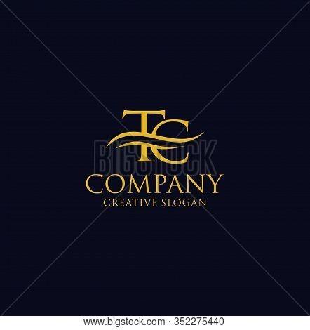 Letter T C Ct Logo Luxury Gold Design Inspiration Vector Illustration