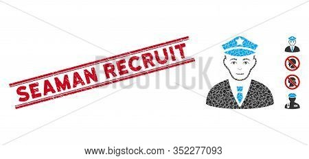 Grunge Red Stamp Watermark With Seaman Recruit Text Inside Double Parallel Lines, And Mosaic Policem