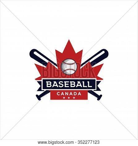 Canadian Baseball Logo Design Vector Illustration. Maple Leaf Baseball Logo . Canadian Sport Logo .