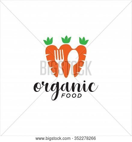 Carrot Cutlery Logo Design . Carrot Logo Design Illustration With Cutlery . Healthy Food Logo Design