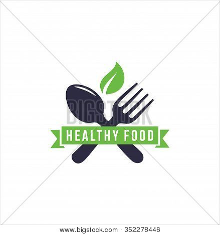 Healthy Food Logo Design . Organic Food Logo . Natural Organic Food Logo With Cutlery And Leaves .le
