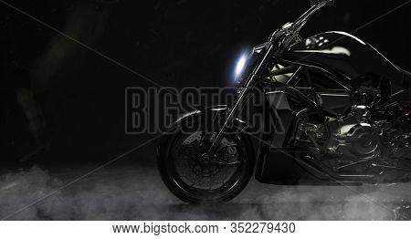 3d render of beautiful black motorcycle on dark background