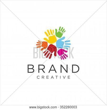 Hand Circle Logo Colorful Design Vector Illustration . Illustration Of Colorful Human Hand Circle