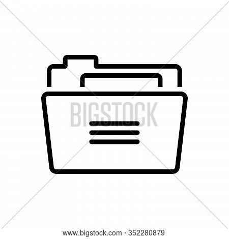 Black Line Icon For Folder Binders  Dossier Portfolio Binder Directory Repository Archives  Document