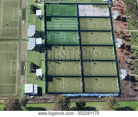 Aerial View Of Football - Soccer Training Facility In Newcastle Nsw Australia. Synthetic Fields One