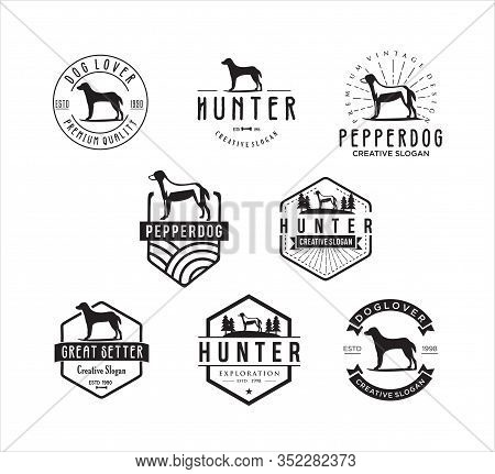 Set Of Dog Vintage Logo . Dog Logo .animal Logo Illustration Vintage Vector