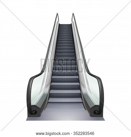 Escalator Business Center Electric Device Vector. Speed Stairway Escalator Shopping Mall Tool For Tr