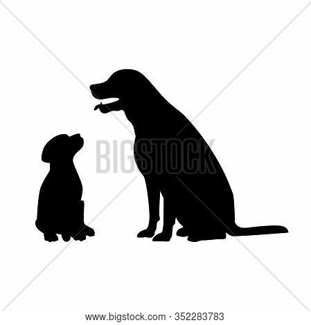 Dog  With Her Puppy Silhouette Isolated On White Background. Vector Image.