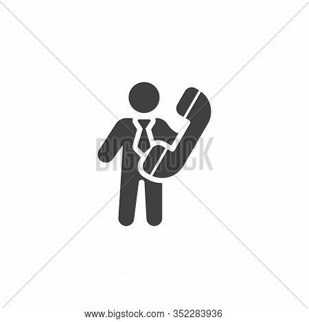 Business Man With Handset Telephone Vector Icon. Filled Flat Sign For Mobile Concept And Web Design.