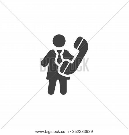 Business Woman With Handset Telephone Vector Icon. Filled Flat Sign For Mobile Concept And Web Desig