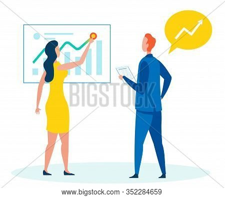 Presenting Annual Report Flat Vector Illustration. Cartoon Woman, Finance Analyst Explaining Market
