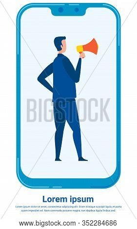 Management Skills Flat Vector Poster Template. Supervisor Holding Loudspeaker Cartoon Character. Pro