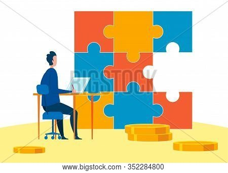 Financial Problems Metaphor Vector Illustration. Jigsaw Puzzle With Missing Piece. Cartoon Finance E