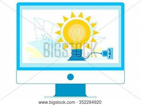 Online Startup Idea Pitch Vector Illustration. Computer In Energy Saving Mode, Environmentally Frien