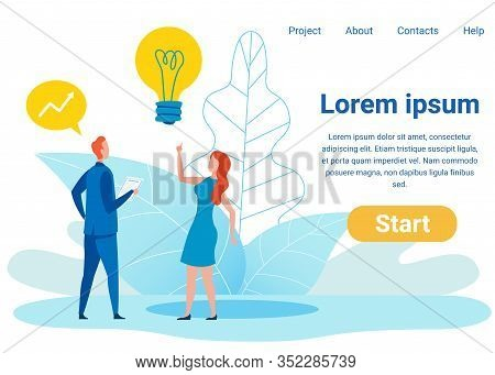 Investment Ideas Flat Vector Landing Page Template. Cartoon Economist, Female Broker With Raised Ind