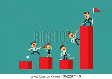 Successful Business Leader Help His Team Climb The Highest Bar Chart. Business Teamwork Concept.