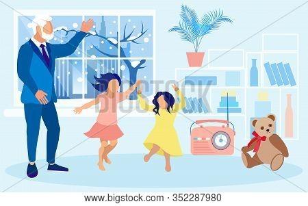 Granddad, Having Fun With Granddaughters. School Age Girls, Sisters, Fooling Around, Dancing And Jum