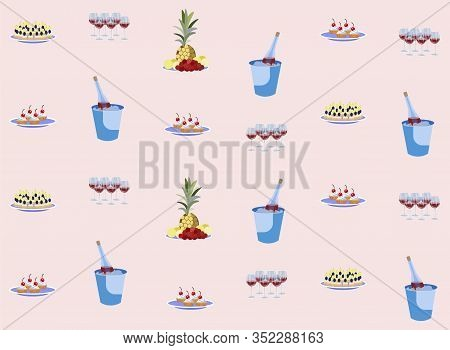 Food Appetizer And Snacks With Drink Seamless Pattern Flat Cartoon Vector Illustration. Canapes, Bru