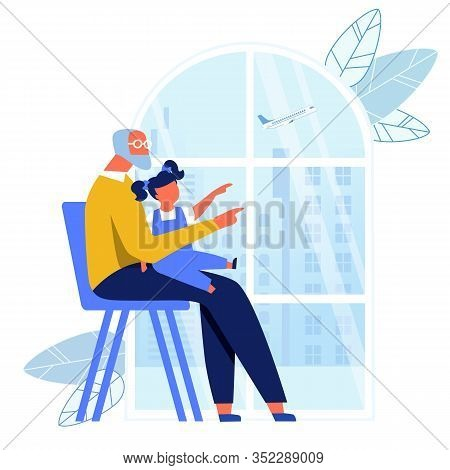 Grandfather Looking After Kid Vector Illustration. Granddad And Little Grandchild Cartoon Characters