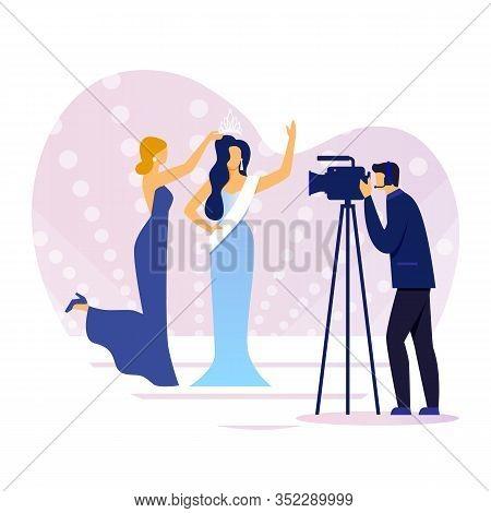 Award Ceremony Shooting Flat Vector Illustration. Hostess, Winner And Cameraman Cartoon Characters.