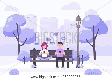 Young Woman And Young Man Sitting In City Park And Sending Messages With Smartphone. Stock Vector. P