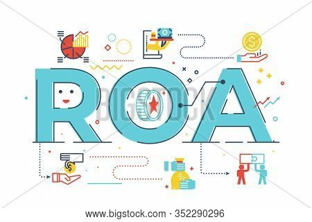 Roa - Return On Assets Word Lettering Illustration With Icons For Web Banner, Flyer, Landing Page, P