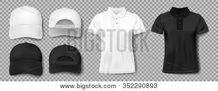 Set Of Sports Wear Template. Black And White Baseball Cap And Polo Shirt Mockup, Front And Back View
