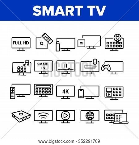 Smart Tv Television Collection Icons Set Vector. Smart Tv Electricity Technology Full Hd And 4k, Gam