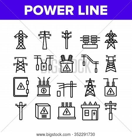 Power Line Electricity Collection Icons Set Vector. Power Line Tower And Electric Wire Cord, Transfo