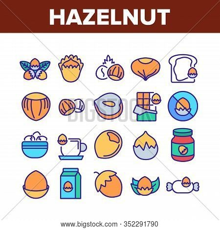 Hazelnut Organic Food Collection Icons Set Vector. Hazelnut In Coffee And Chocolate Candy, Peanut Bu