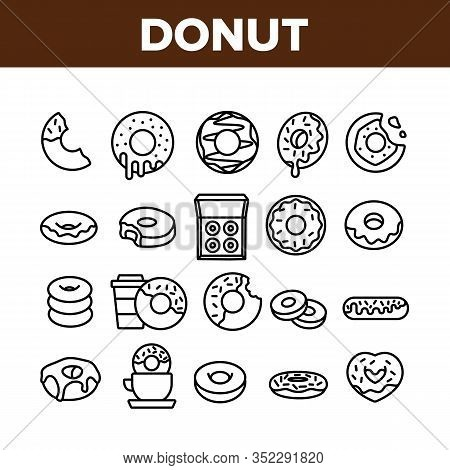 Donut Sweet Breakfast Collection Icons Set Vector. Donut With Caramel And Chocolate, Coconut Flakes